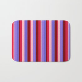 Crimson, Light Pink, Purple, Slate Blue, and Maroon Colored Lines Pattern Bath Mat