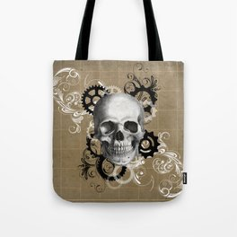Skull With Gears and Floral Ornaments Tote Bag