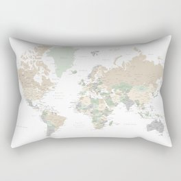 "World map with cities, ""Anouk"" Rectangular Pillow"