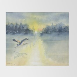 Flying Home - Great Blue Heron Throw Blanket
