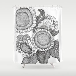 Sunflowers Black and White Ink Drawing Shower Curtain