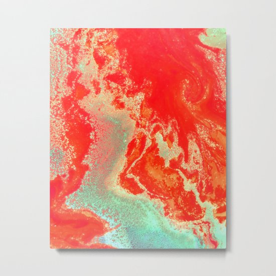 Sea Green + Coral #society6 #decor #buyart Metal Print