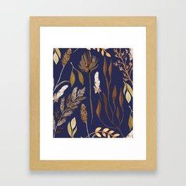 Fall Foliage on Navy Framed Art Print