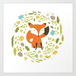 Woodland Fox illustration with cute floral wreath Art Print