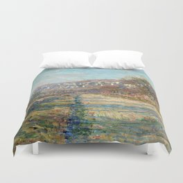 1880-Claude Monet-Road of La Roche-Guyon-60 x 73 Duvet Cover