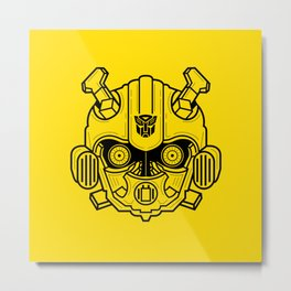 Bumble bee lineart Yellow Metal Print