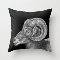 ram Throw Pillows featuring Ram by Tim Jeffs Art
