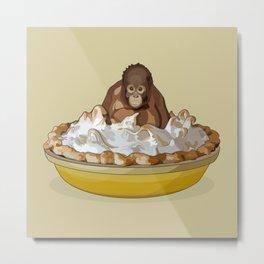 Lemon 'Merangutan' Pie - Orangutan Monkey in Lemon Meringue Pie Metal Print