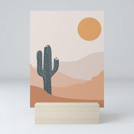 Dark Cactus with white flowers , desert climate , sun and sand ,cactus ideas, Arizona  Mini Art Print