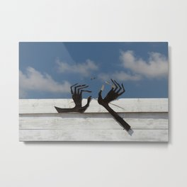 Hands and bird Metal Print