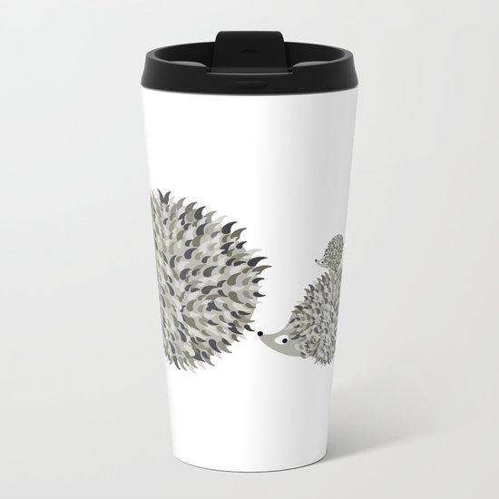 Hedgehogs family Metal Travel Mug