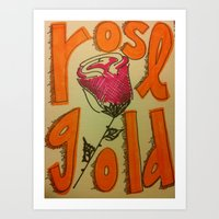 rose gold Art Prints featuring Rose Gold by Eve Beth