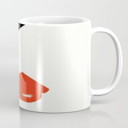 Retro Fashion Model with Stylish Hair and Red Lipstick Coffee Mug