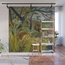 """Henri Rousseau,"""" Tiger in a Tropical Storm (Surprised!) """" Wall Mural"""