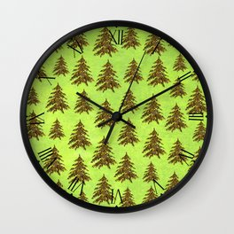 Sparkly Gold Christmas tree on abstract green paper Wall Clock
