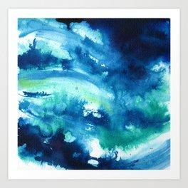 Watercolor Abstract, Indigo Blue Green Art Print