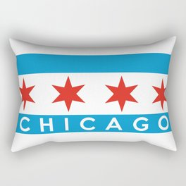 chicago city flag name text Rectangular Pillow