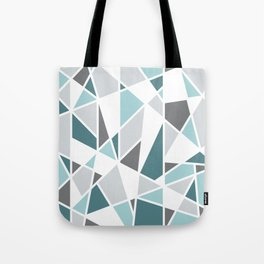 Geometric Pattern in teal and gray Tote Bag
