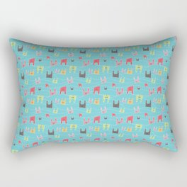 Colorful bunnies on blue background Rectangular Pillow