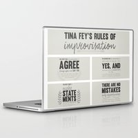 tina crespo Laptop & iPad Skins featuring Tina Fey's Rules of Improvisation by lidia