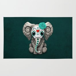 Teal Blue Day of the Dead Sugar Skull Baby Elephant Rug