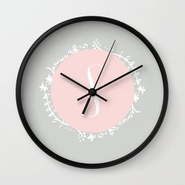Garland Initial S - Grey Wall Clock