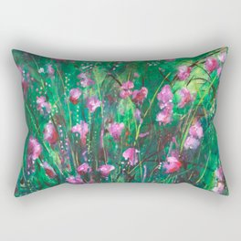 """WOODLAND SPRING"" Original Painting by Cyd Rust Rectangular Pillow"
