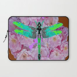 EMERALD DRAGONFLY PINK ROSES COFFEE BROWN Laptop Sleeve