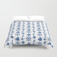 ships Duvet Covers featuring Ships Anchor Beach House by Antique Images