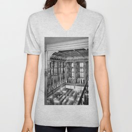 A Book Lover's Dream - Cast-iron Book Alcoves Cincinnati Library black and white photography Unisex V-Neck
