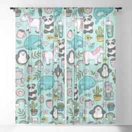 Narwhal and Friends, Emoji Tween Print, Pre-teen Girls, Unicorns, Panda, Llamas and Doughnuts Sheer Curtain