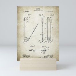Safty Pin Patent Drawing Mini Art Print