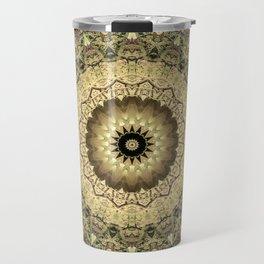 Vintage Gold Pink Mandala Design Travel Mug