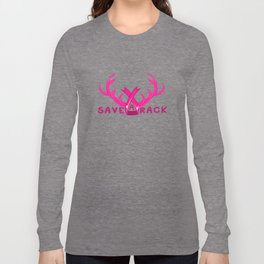 Breast Cancer Awareness Save A Rack Pink Antlers Long Sleeve T-shirt
