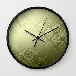 """""""Olive Damask Pattern"""" Wall Clock"""