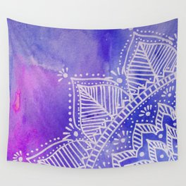 Mandala flower on watercolor background - purple and blue Wall Tapestry