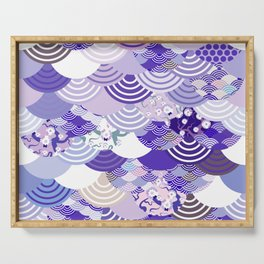 Nature background with japanese sakura flower, Cherry, wave circle. Ultra Violet Color of the Year Serving Tray