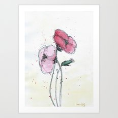 Poppies painting watercolor and black ink illustration Art Print