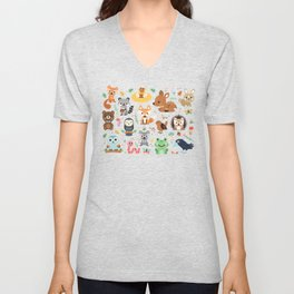 Woodland Animal Unisex V-Neck