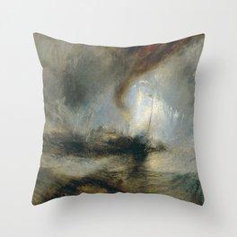"Tempête de neige en mer ""Snow Storm - Steam-Boat off a Harbour's Mouth"", William Turner, 1842 Throw Pillow"