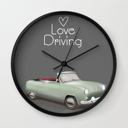 Love driving vintage car poster. Wall Clock
