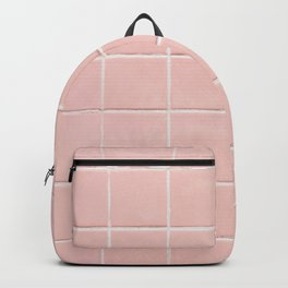 Peach Pink Tile Grid Backpack