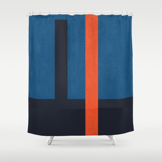 Blue And Red Minimalist Shower Curtain By The Spirit Of Art Society6