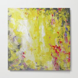 Yellow, bright hot pink, charcoal grey - Abstract no.50 Metal Print