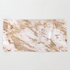 Golden smudge - blush marble Beach Towel