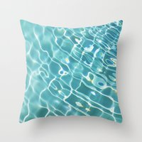 swim Throw Pillows featuring Swim by Nimai VandenBos