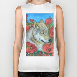 Wolf and Red Poppies Biker Tank
