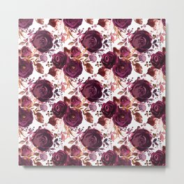 Burgundy pink white watercolor hand painted floral Metal Print