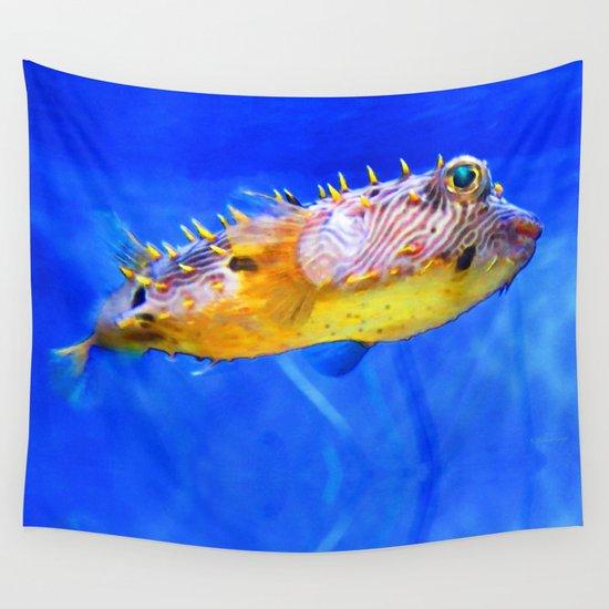 Magic puffer fish art by sharon cummings wall tapestry for Puffer fish art