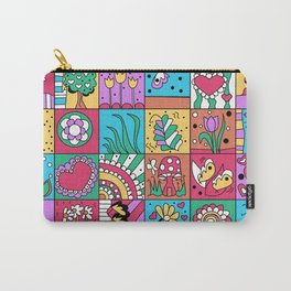Inchie Doodle Design - Blue Red - Spring Carry-All Pouch